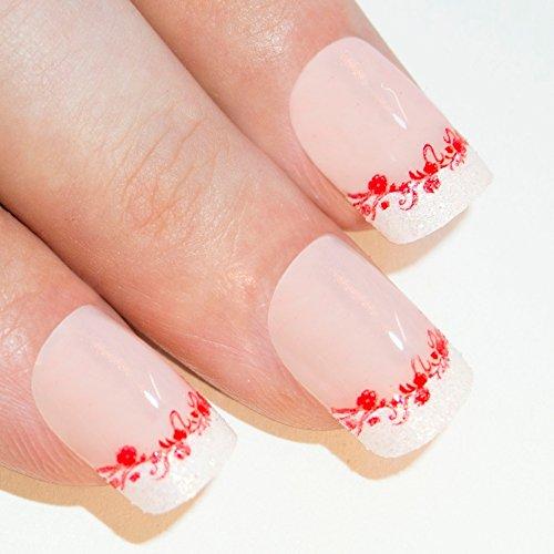 Nail Tips français joli arc faux ongles Art 24 Moyen Full Cover gratuit colle Royaume-Uni