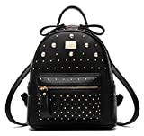 HoneymallDamen luxuriös PU Leder Rucksack Schulrucksack schöne kleine Tasche neue Mode rund einzigartig Design Niet PU-Leder mit Nieten(Schwarz)
