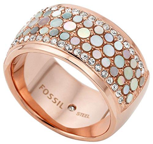 FOSSIL Ring aus Edelstahl & Perlmutt