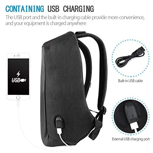 BUCKETLIST® Anti Theft Waterproof Business Travel Laptop Bag with USB Cable and Built in Charging Port for College and Office Work Image 3