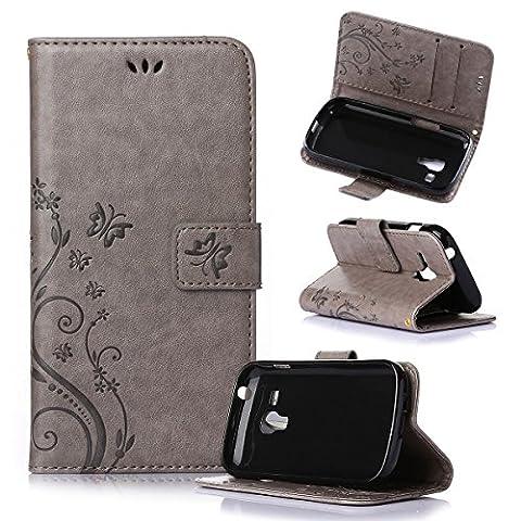 Beiuns Étui en Simili cuir pour Samsung Galaxy Trend Plus S7580 / Galaxy S Duos 2 S7582 Housse Coque - R152 gris (NON compatible avec Trend Lite S7390 / S7392)