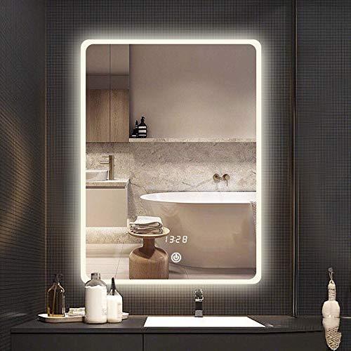 JU FU Espejo Espejo de baño, Montaje en Pared Color de Tono Inteligente Anti-vaho Tiempo de visualización...
