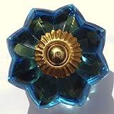 Hellblau Glas Blume Messing Schrank Schublade Pull Griff Knauf