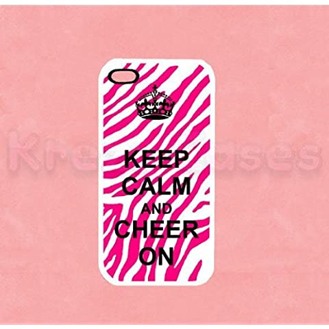 Keep Calm and Cheer on Zebra Print Iphone 5 Case - For Iphone 5, iPhone 5 cover