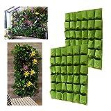 Facethoroughly Pflanzsack Pflanztasche, 36 Pocket Bepflanzen Bag Vertikal Wand Übertopf-Pflanzkissen für Aufhängung Flower Kräutergarten Balkon (36 Pocket x 2)