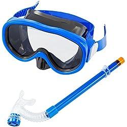 Masque Tuba de plongée pour enfant avec masque de plongée & schnorche Dry Tuba Tuba Masque de plongée avec Purge et anti buée Lunettes, bleu