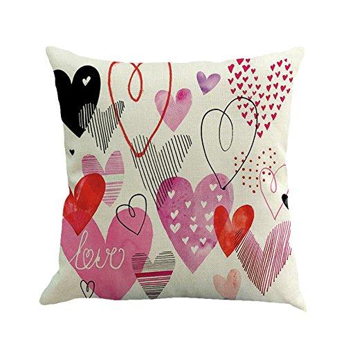 Jimmackey san valentino federa cuscino dolce stampato amore copertina divano letto famiglia decorativo federe 45 x 45 cm (c)
