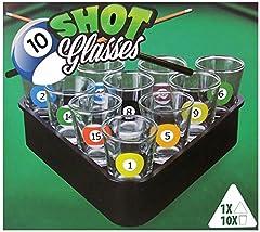 Idea Regalo - Set di 10bicchierini da biliardo, bicchieri da liquore con vassoio triangolare