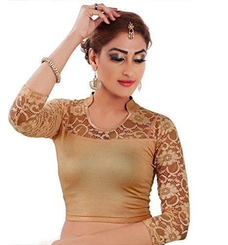 Lyneth Shimmer 3/4th sleeve blouse (Dark Gold_Large)