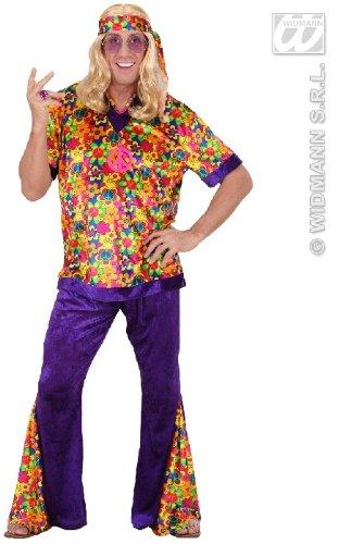 Dude Hippie Für 70er Jahre Herren Hippie Kostüm (KOSTÜM - HIPPIE MANN - Größe 54 (L) *** SAMTLOOK)