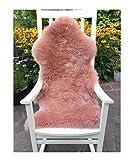 Premium Schaffell ROSÉ (Alt-Rosa) von LANABEST. Besonders Zart, Absolut geruchsarm und Kuschelig. Geschenkqualität. Echtes Lammfell 90-100 cm
