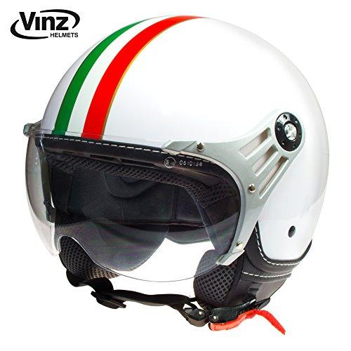 Vinz Jethelm Rollerhelm Jethelm Fashionhelm | Roller Jet Helm mit Streifen | in Gr. XS-XL | Motorradhelm mit Visier | ECE zertifiziert (M, Weiß Italy) im Test