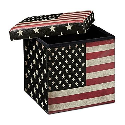 Relaxdays Tabouret pliant coffre de rangement pliable banc de stockage avec couvercle amovible 38 x 38 x 38 cm pouf en similicuir repose-pieds table appoint motifs tendances USA