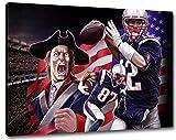 New England Football, Fan Artikel Leinwandbild, Größe: 120x80cm, Auf Holzrahmen gespannt, Kein Poster oder billig Plakat, Must Have für echte Fans