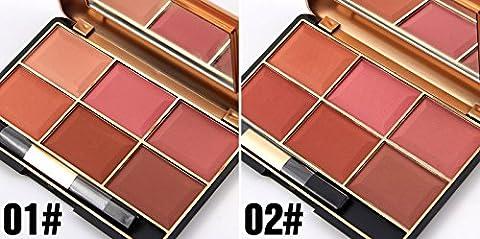 Urparcel MISS ROSE Femme fard à joues Blush fondant maquillage blush visage palette de 6 couleurs américain