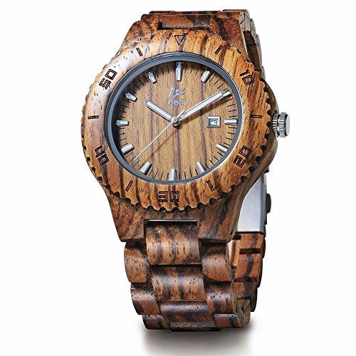 Hölzerne Uhr, CONMING natürliche hölzerne Uhr handgefertigte kleine Skala Sandelholz Ebenholz Korn Vintage Quarzwerk leichte Armbanduhr kreative Geschenke (zebra wood)