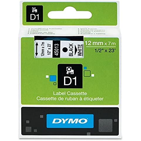 Dymo D1 45013 Tape Cartridge, Black On White 0.5 X 23'-Black, 2 pk by DYMO