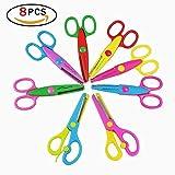 Ouken Papier Rand Scheren Set mit 8 Packungen Kunststoff Safty Scheren für Kinder