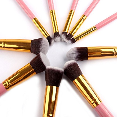 Ammiy�10PCS Professional Premium Kabuki Makeup Brush Set Foundation Blending Blush Eyeshadow Face Powder Brush Makeup Brush Kit Pink Golden Kit