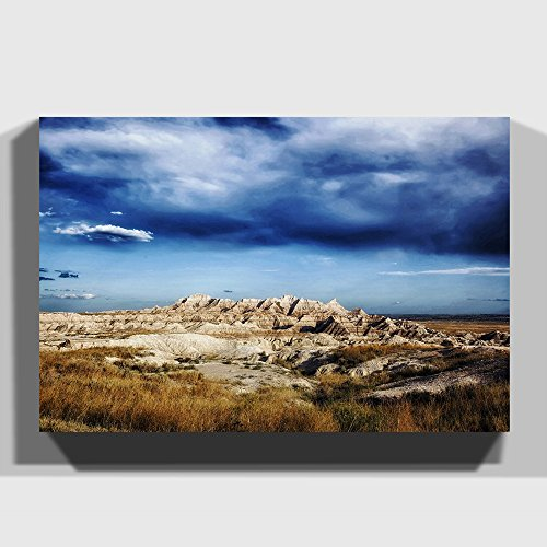 BIG Canvas Print 24 x 16 inch (60 x 40 cm) Landscape Badlands South Dakota USA - Canvas Wall Art Picture Ready to Hang - Free Delivery