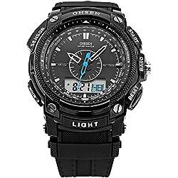 OHSEN Digital LCD Alarm Mens Sport Rubber Watch Black