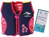 Lampiphant® + Original Konfidence Kinder-Schwimmweste aus Neopren, 1,5-3 Jahre, Rosa Blumen, mit Plitsch-Platsch-Fibel