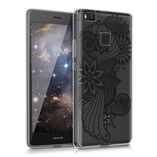 kwmobile Huawei P9 Lite Hülle - Handyhülle für Huawei P9 Lite - Handy Case in Blumen Kreise Design Schwarz Transparent