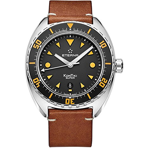 ETERNA MEN'S SUPER KONTIKI 45MM LEATHER BAND AUTOMATIC WATCH 1273-41-49-1363