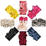 Makone Baby Stirnband, Stretchy Velvet Stirnband mit Bögen Pom Pom Bun 5,5 Zoll Big Hair Bow Stirnband für Säuglingsbabys