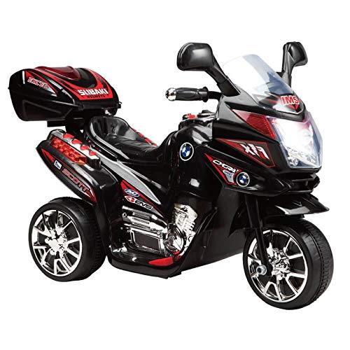 Kinder Elektromotorrad 6V C051 12 W Motor bis 3 km/h mit Musik und Licht, Farbe:schwarz