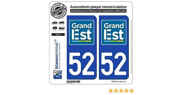 blasonimmat 2 Autocollants Plaque immatriculation Auto 51 Grand Est Logotype