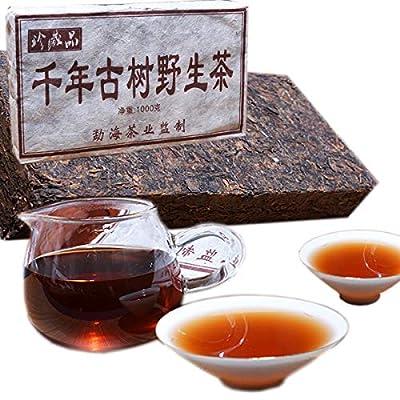 1000g ?2,2LB? Yunnan Arbre millénaire Vieux thé sauvage Pu'er thé mûr Pu'er ancien thé Puer thé noir cuit thé Pu-erh thé Pu erh thé chinois thé sain thé Puerh thé rouge