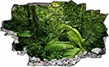 DesFoli Urwald Dschungel Palmen 3D Look Wandtattoo 70 x 115 cm Wanddurchbruch Wandbild Sticker Aufkleber C257