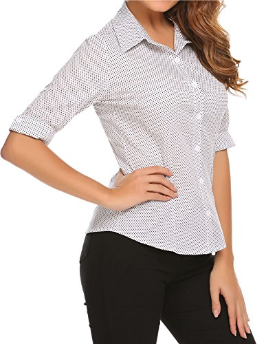 BeautyUU Camicia Donna Manica 3//4 Camicie Basic Camicetta Casual Shirt Camici Top Camicetta Camicia Donna Camicetta in Cotone Formale Elegante