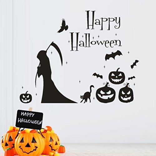 Fuibo Glückliche Halloween Hexe Schläger Wand Aufkleber Fenster Ausgangsdekoration Abziehbild Dekor