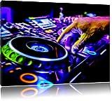 DJ Plattenteller, Cool Music Neon Lights Effekt, Format: 100x70 auf Leinwand, XXL riesige Bilder fertig gerahmt mit Keilrahmen, Kunstdruck auf Wandbild mit Rahmen, günstiger als Gemälde oder Ölbild, kein Poster oder Plakat