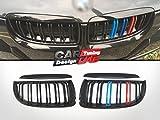 M Tre Colore Nero Lucido Anteriore Dual Pinna Griglia Pour 2005-2008 E90 E91 Prefacelift