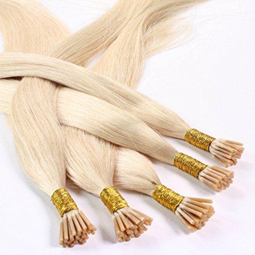 Hair2heart 25 x 0.5g microring stick i-tip extension capelli veri - 60cm - liscio, colore #60 boindo platino