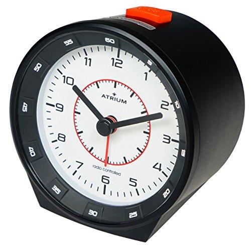 ATRIUM Funkwecker analog schwarz ohne Ticken mit Beleuchtung, Nachtlicht und Snooze A960-20