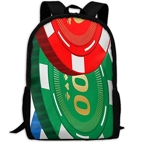 Casino Poker Chips Unisex Adult Unique Rucksack,School Casual Sports Book Bags,Durable Oxford Outdoor College Laptop Computer Shoulder Bags,Lightweight Travel Tagesrucksäcke