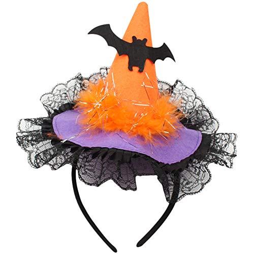 Leisial Cappello Fasce per Capelli Forma di Cappello di Strega Copricapo di  Pizzo con Paillettes Halloween Spettacolo del Partito 7bc06abc37ee