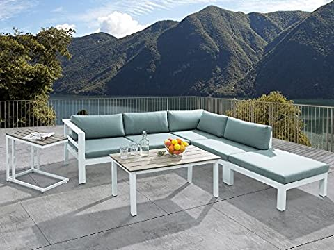 Sectional Outdoor Sofa Set - 5- Piece Patio Conversation Set with Ottoman - White - MESSINA