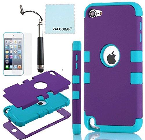 ZAFOOORAH Schutzhülle für Apple iPod Touch 5 (Silikon, Pinguinmotiv, inklusive Mini-Eingabestift, Displayschutzfolie und Mikrofasertuch), - violett/blau (Double Clip 3 Layers - PURPLE/LIGHT BLUE) - Größe: Touch 5