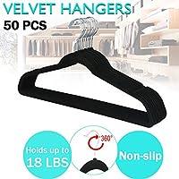FARIL Premium Range Velvet Touch Thin Space Saving Non-Slip Coat Hangers, Black, Pack of 50