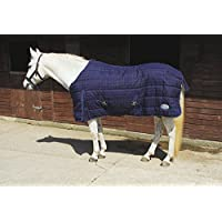 Rhinegold Heavy Weight Horse Pony Stable Quilt Rug Navy Red Check 4ft6in to 7ft0in