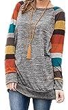 ZIOOER Mujeres Suelto Jersey Suéter Pullover Cárdigan Striped Camiseta Cuello Redondo con Manga Larga Sudadera Cardigan Casual Loose Oversize Jerséis T-Shirt tee Tops Gris-Naranja M