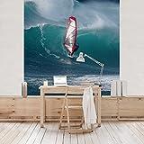 Apalis Vliestapete The Surfer Fototapete Quadrat | Vlies Tapete Wandtapete Wandbild Foto 3D Fototapete für Schlafzimmer Wohnzimmer Küche | Größe: 192x192 cm, blau, 98078