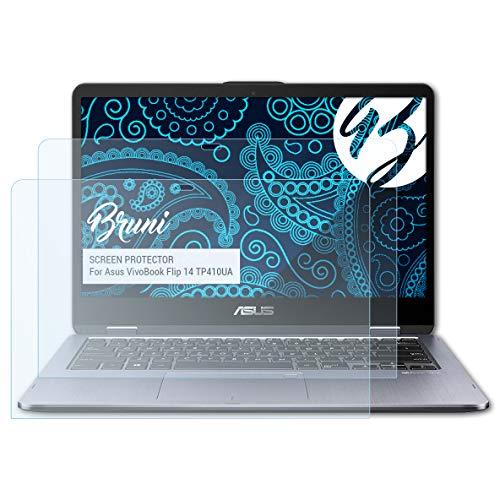Bruni Schutzfolie für Asus VivoBook Flip 14 TP410UA Folie, glasklare Bildschirmschutzfolie (2X)