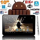 Tablette tactile 10 pouces Android 4.4 KitKat Quad Core 8 Go Blanc