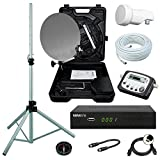 netshop 25 Camping SAT Koffer 40cm Spiegel + HD Receiver (12V & 220V) + Single LNB + 10m Kabel + Digital SAT-Finder + Dreibein-Stativ